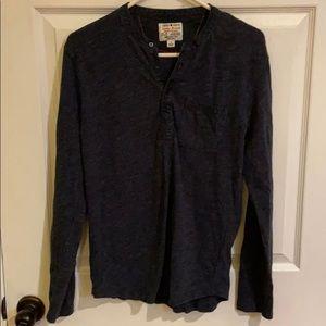 Men's Lucky Brand navy blue 4 button henley shirt